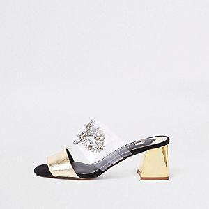 Goldene Sandalen mit Blockabsatz