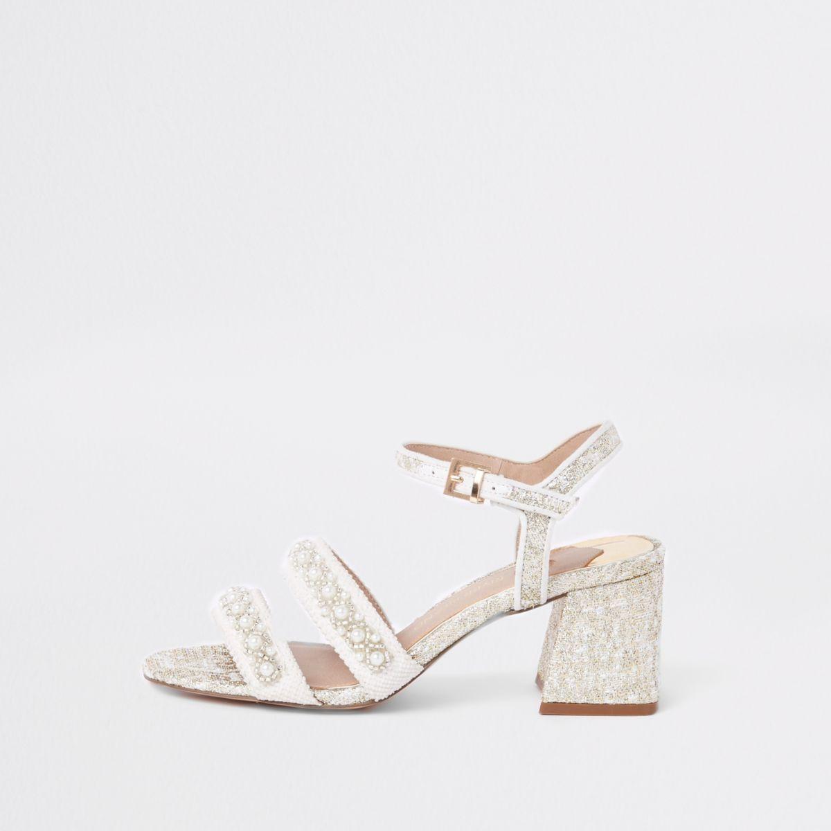 White textile pearl block heel sandals