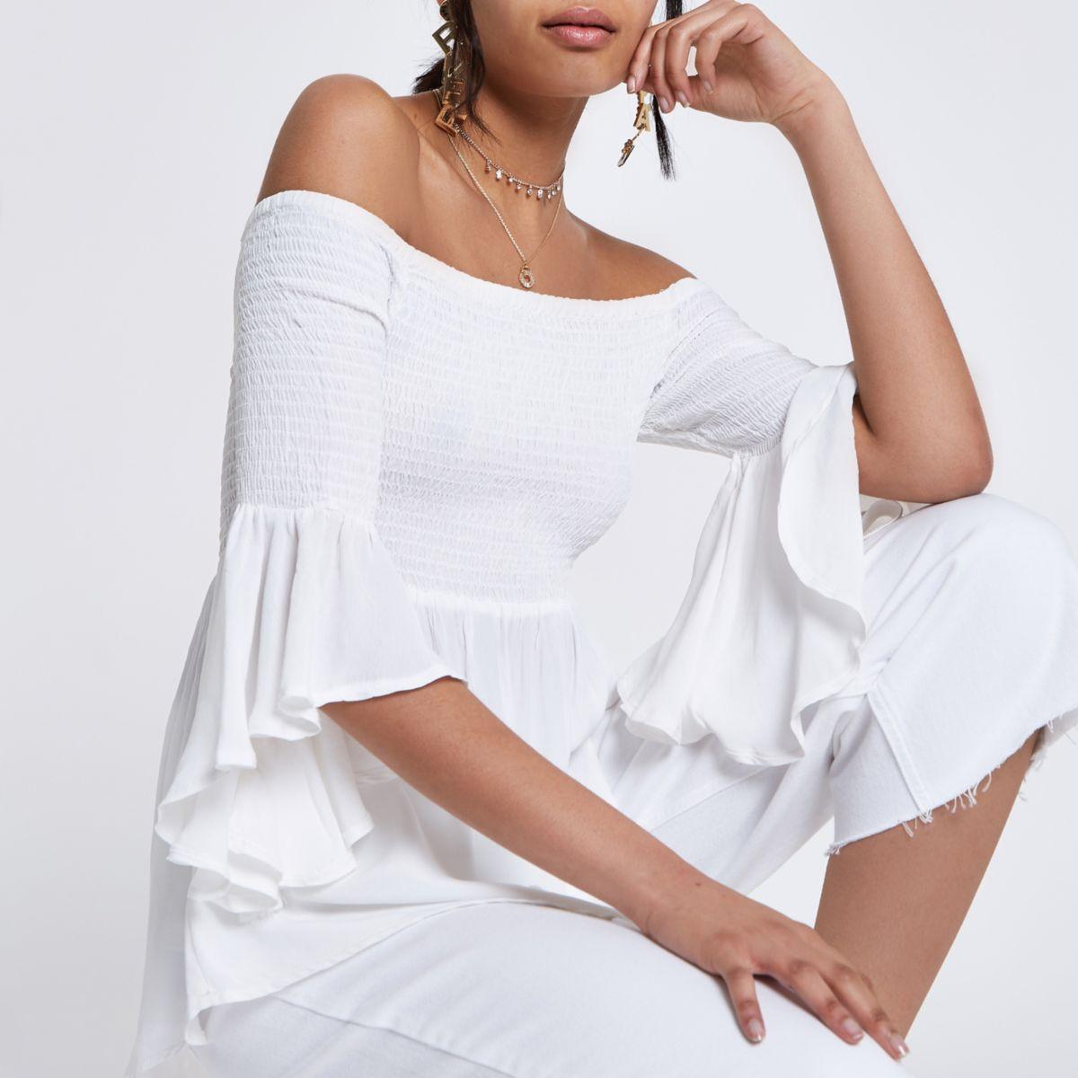 White shirred bardot frill sleeve top