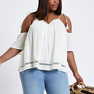 Plus white tie strap cold shoulder swing top