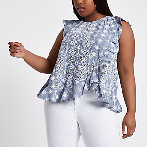 Plus blue broderie frill shell top