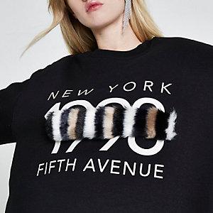 Zwart sweatshirt met 'New York'-print en strook imitatiebont
