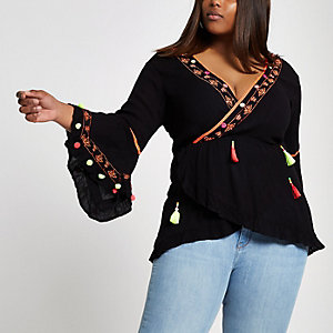 Plus black embroidered wrap top