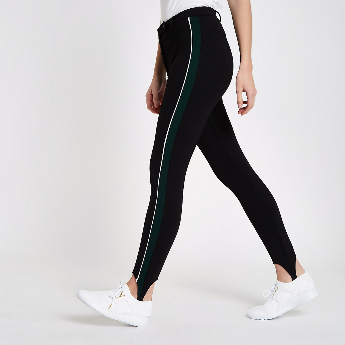 Black stripe side stirrup leggings