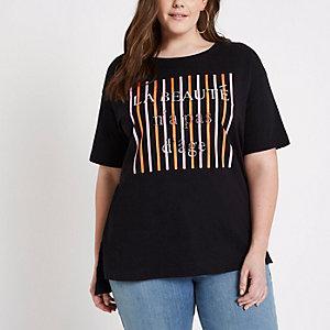 RI Plus - Zwart gestreept T-shirt met 'La beaute'-print