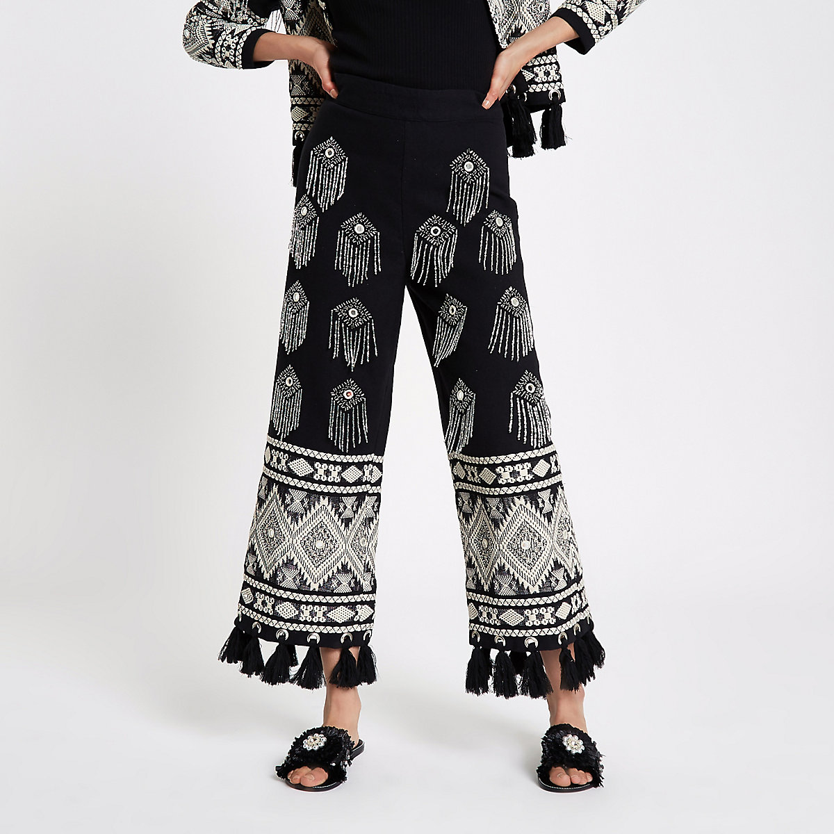Black embellished tassel hem culottes