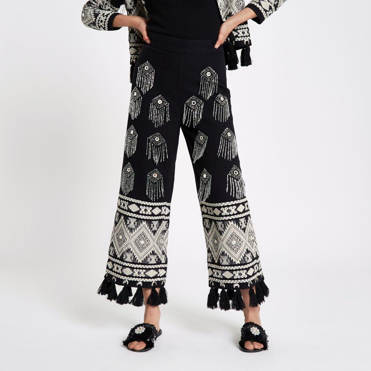 Black Embellished Tassel Hem Culottes                                    Black Embroidered Tassel Jacket by River Island