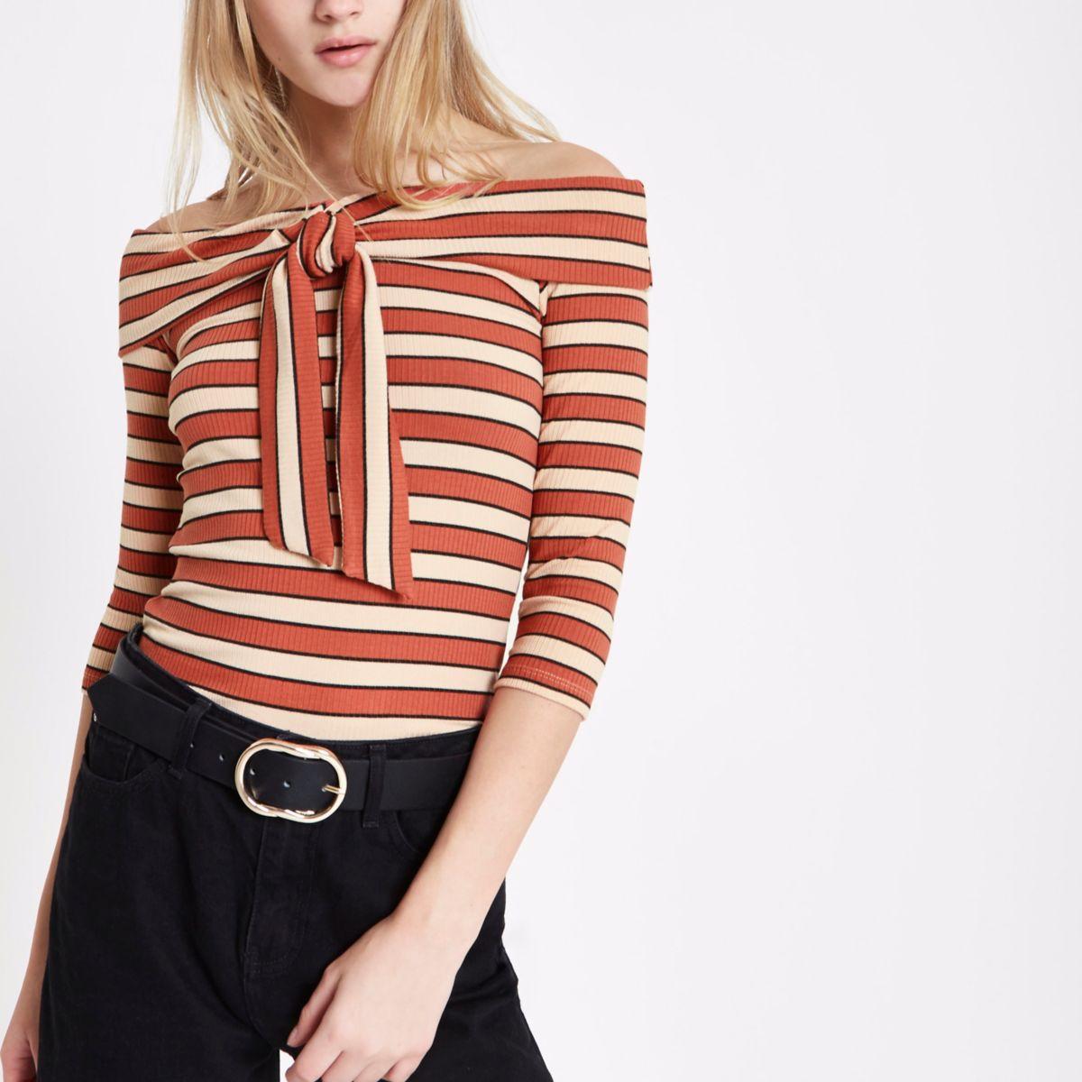 Orange stripe rib tie front bardot top