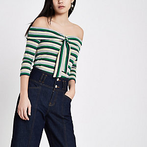 Green stripe rib tie front bardot top