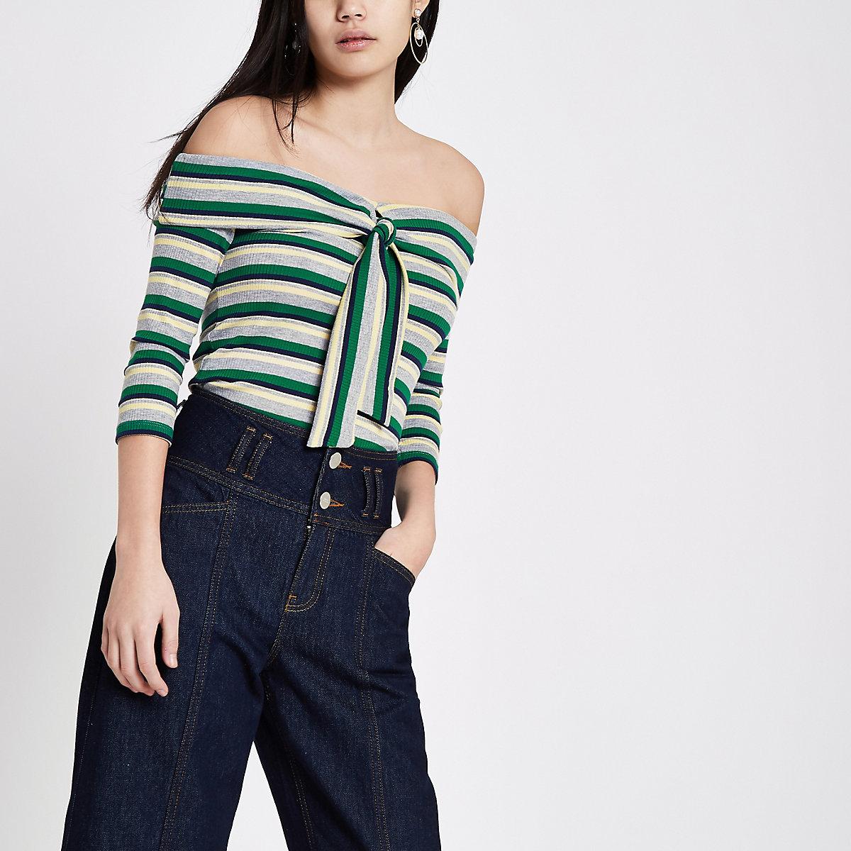 Green stripe rib tie front bardot top