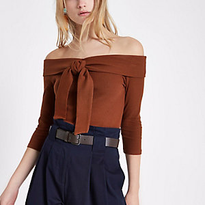 Brown rib tie front bardot top