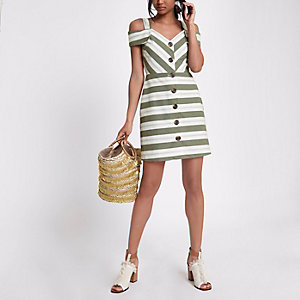 Khaki stripe button up mini dress