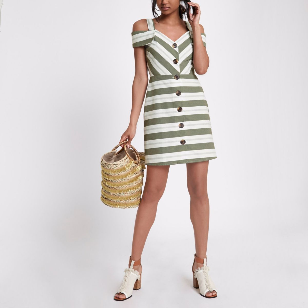 Kaki gestreepte mini-jurk met doorlopende knoopsluiting