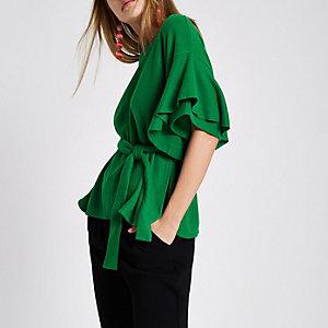 Green frill sleeve peplum belted top