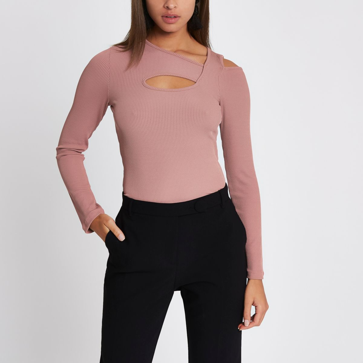 Pink rib cut out neck long sleeve top