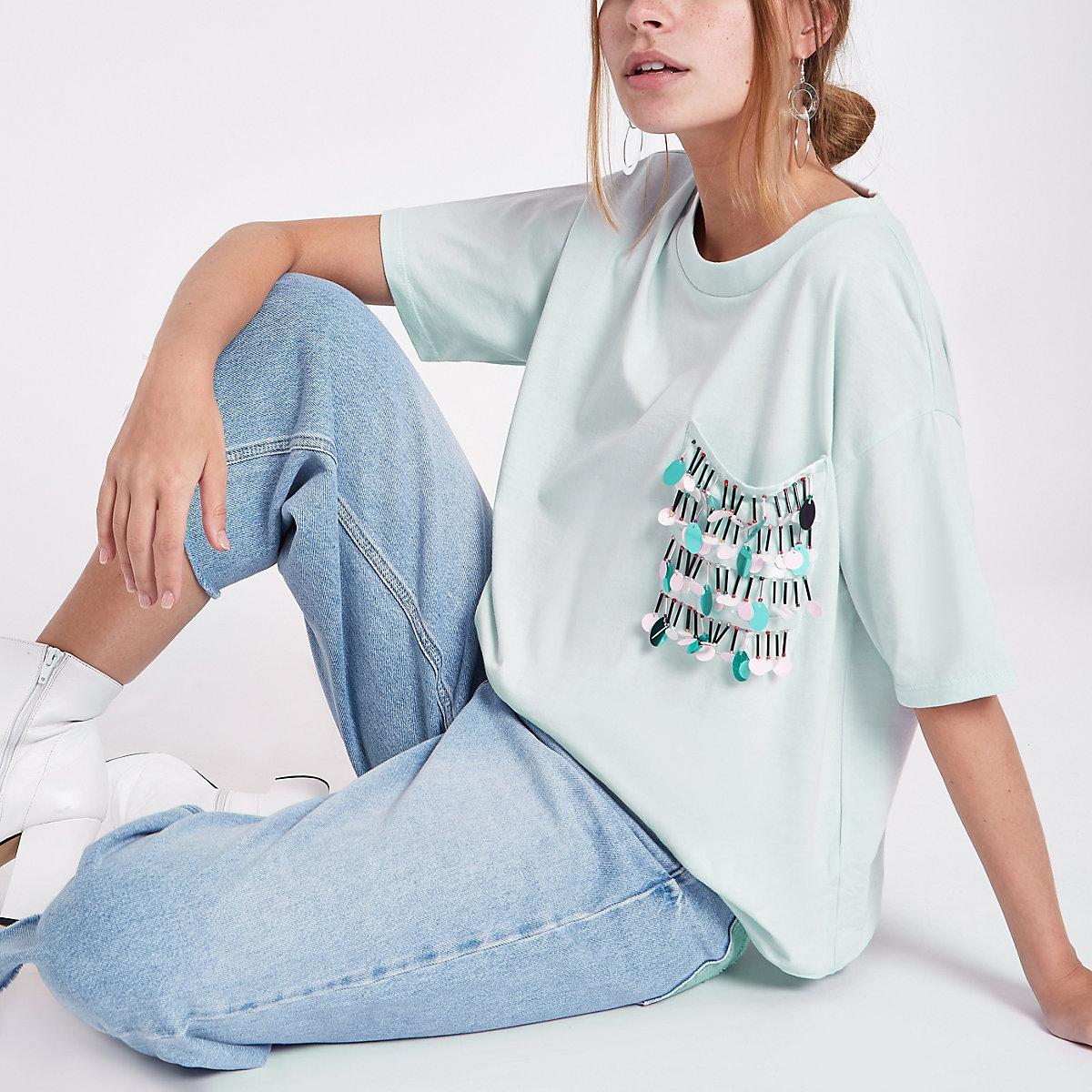 Petite light blue embellished pocket T-shirt