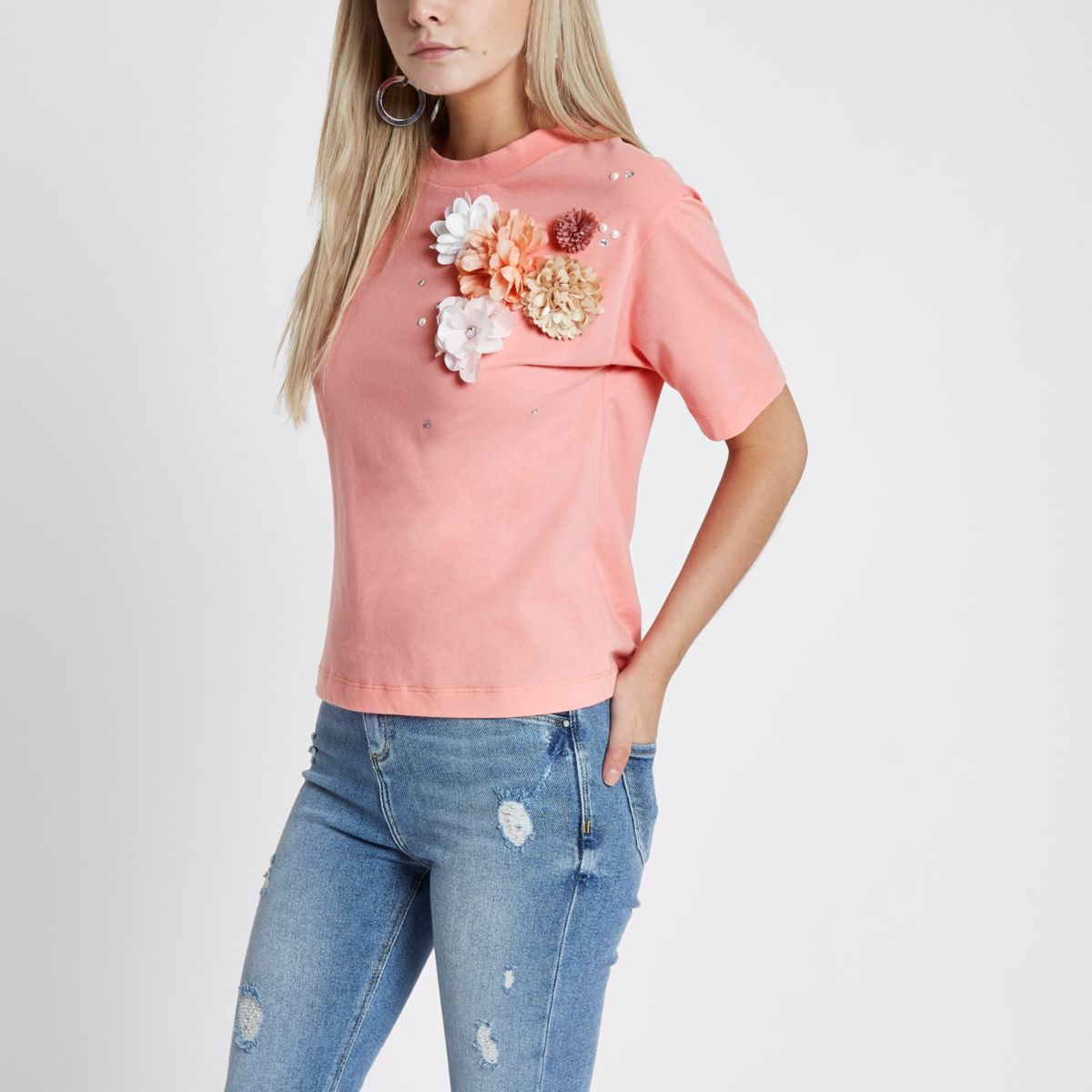 Petite Pink 3D floral detail T-shirt