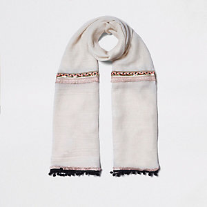 Cream neon embellished trim long scarf