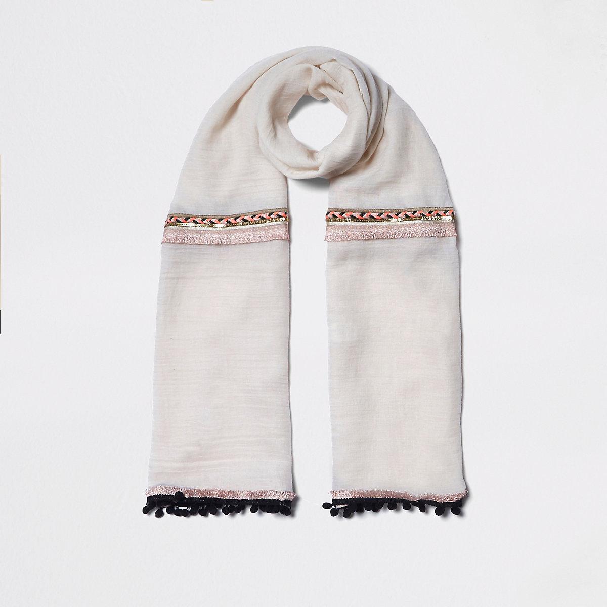 Cream neon embellished trim long scarf