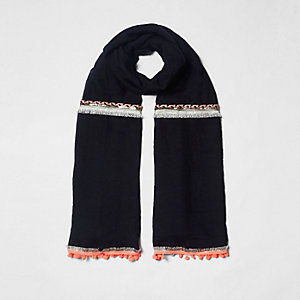 Black neon embellished trim long scarf