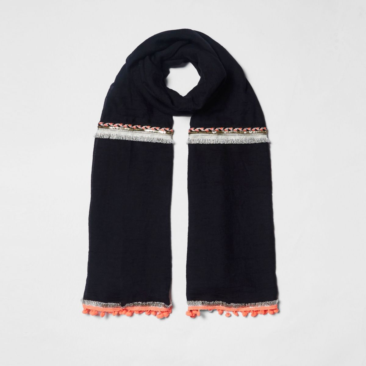Black neon embellished trim long scarf