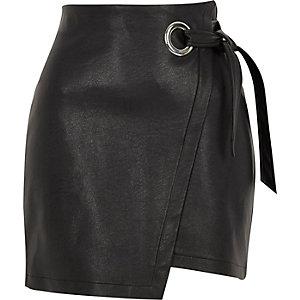 Black faux leather wrap mini skirt