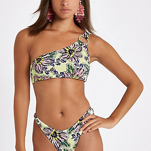 Haut de bikini à fleurs jaune asymétrique