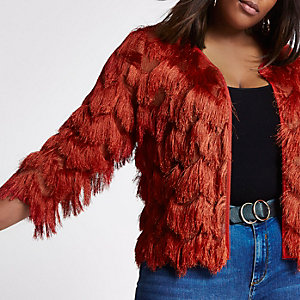 RI Plus - Gatsby- Roetsbruin jasje met lange mouwen en franje