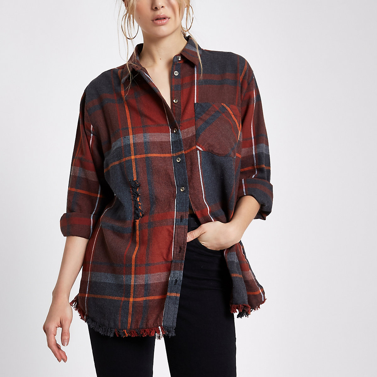 Orange check oversized ripped hem shirt