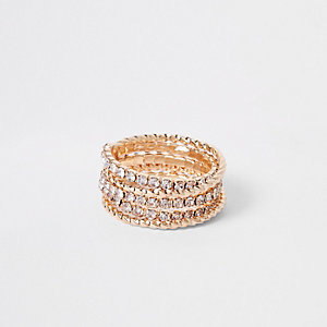 Gold tone diamante embellished spiral ring
