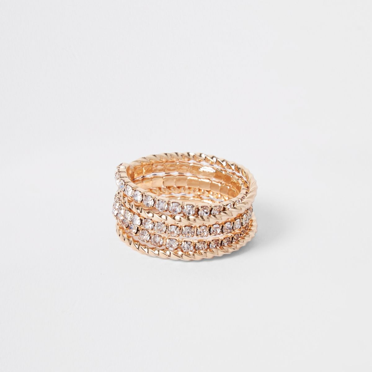 Gold tone rhinestone embellished spiral ring