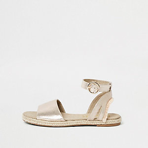 Gold metallic two part sandals