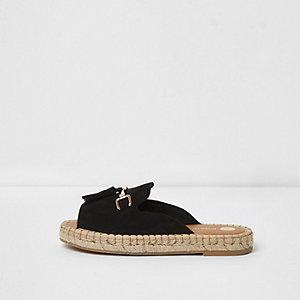 Zwarte espadrilleloafers met brede pasvorm zonder hiel