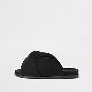 Zwarte gewatteerde sandalen met knoop