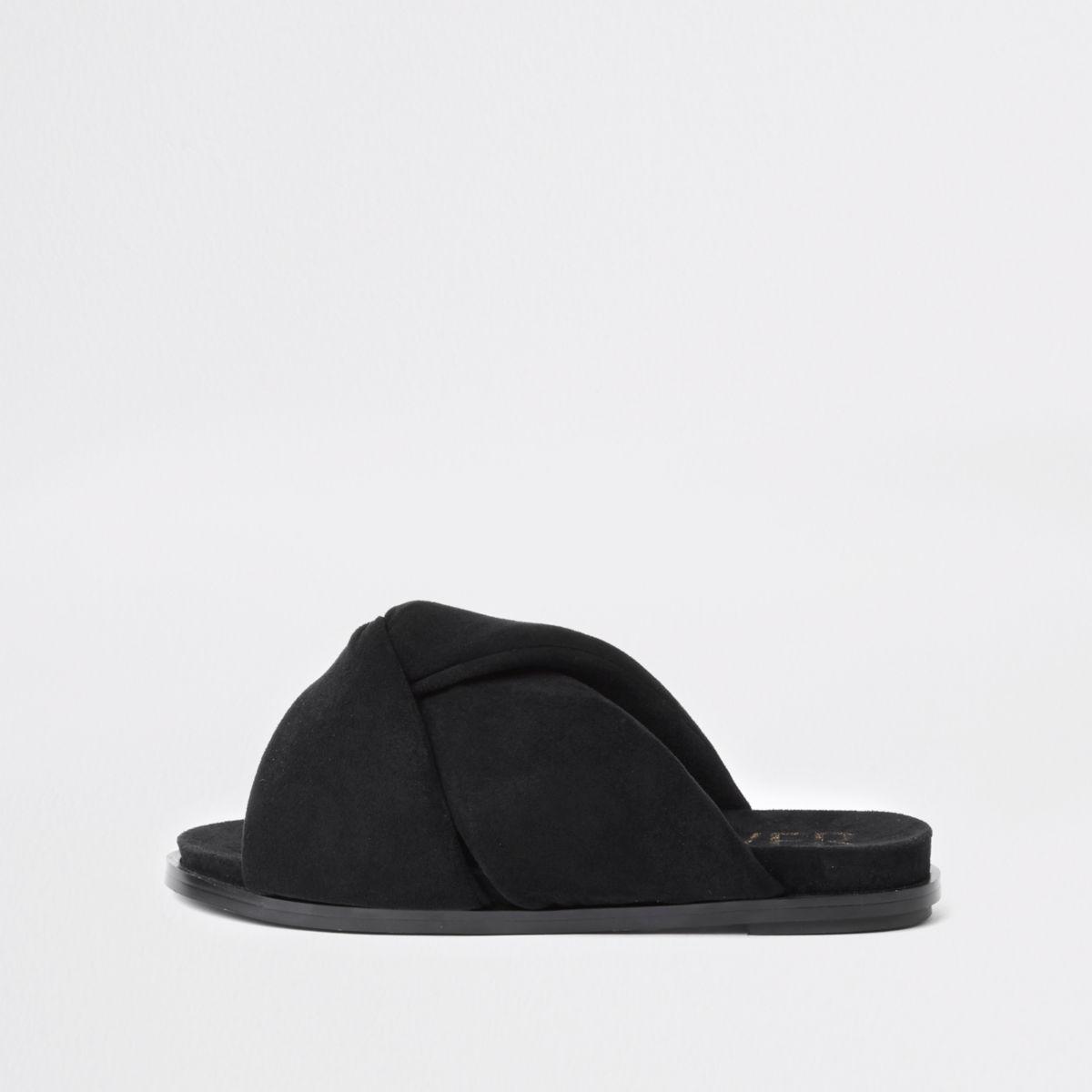 Black padded knot detail sandal