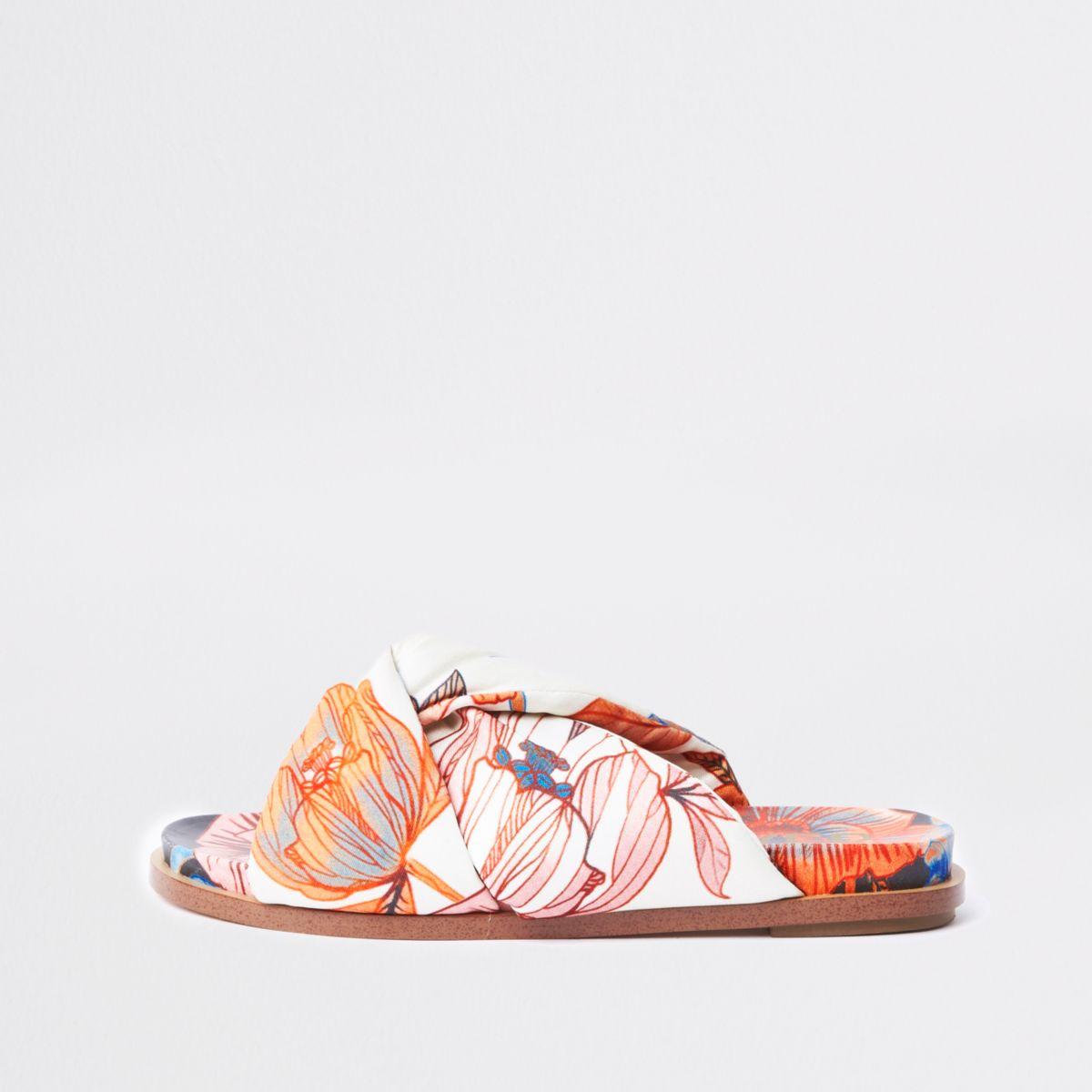 Pink floral padded knot detail sandal