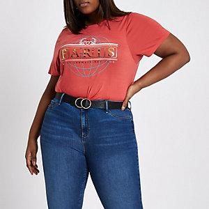 Plus – T-shirt rouge à imprimé « Paris » métallisé