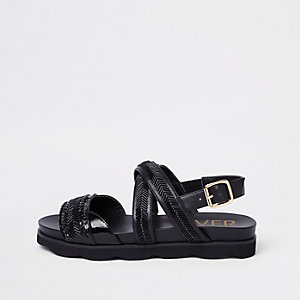 Black bead footbed sliders