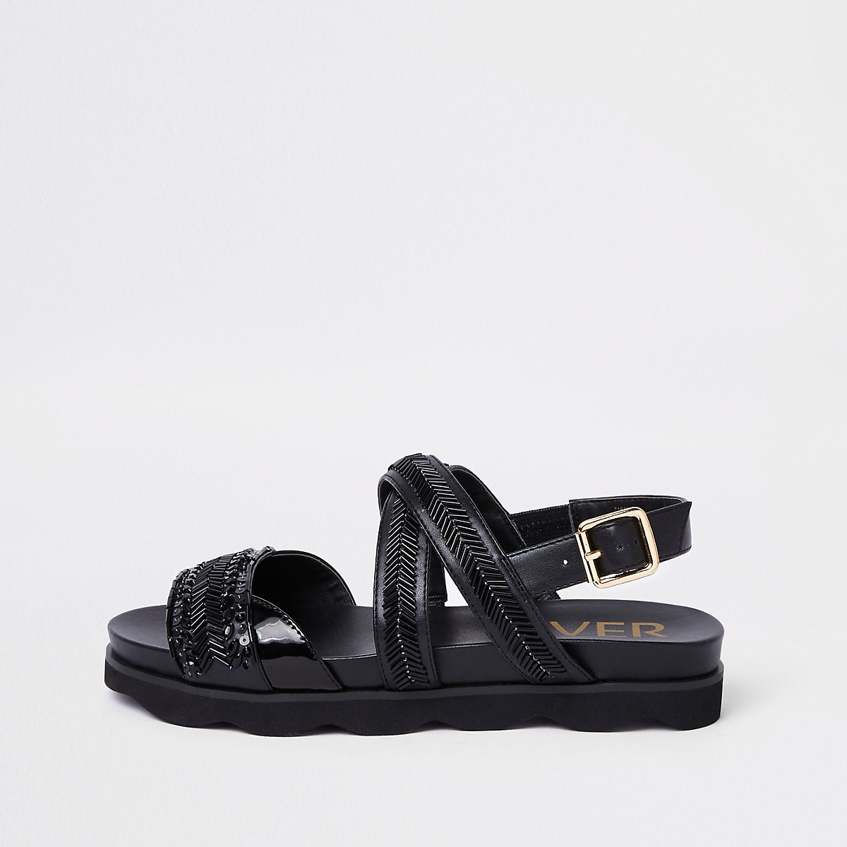 d3637a44153344 Black bead footbed sliders - Sandals - Shoes   Boots - women