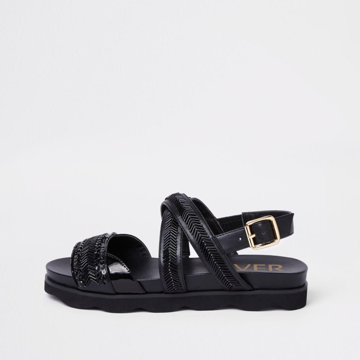 Black bead footbed sliders