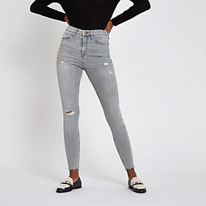 ​Harper – Graue Super Skinny Jeans im Used Look