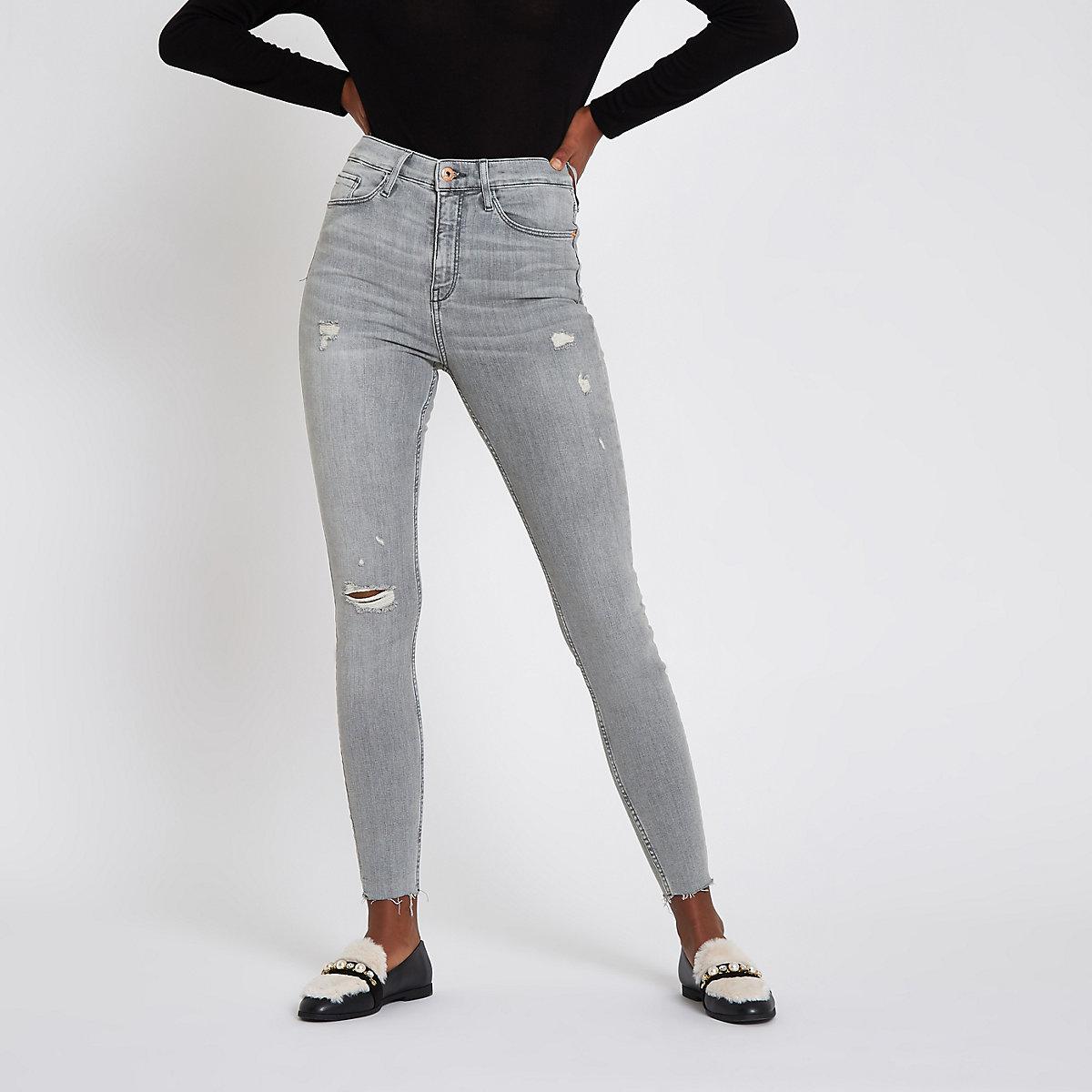 Grey Harper ripped super skinny jeans