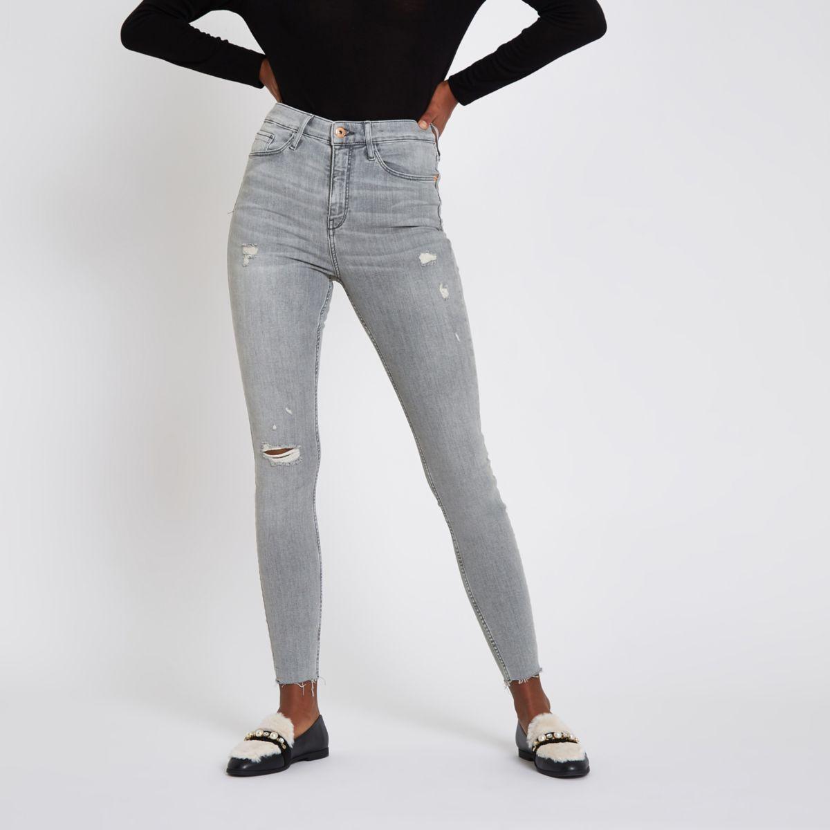 Harper – Graue Super Skinny Jeans im Used Look