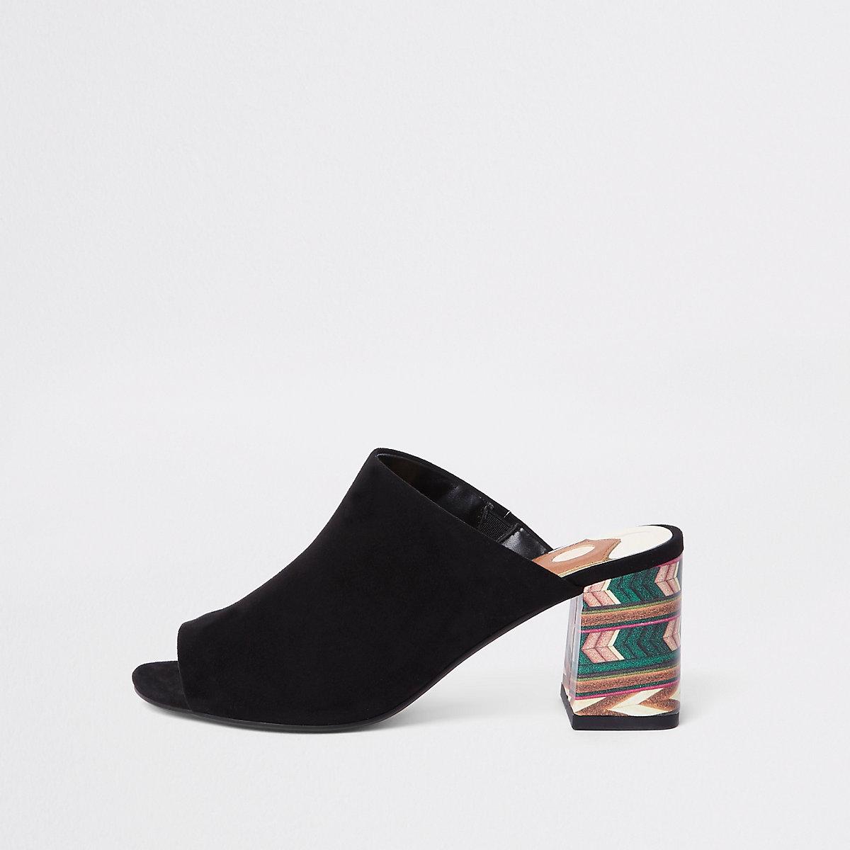 Black block print heel mules