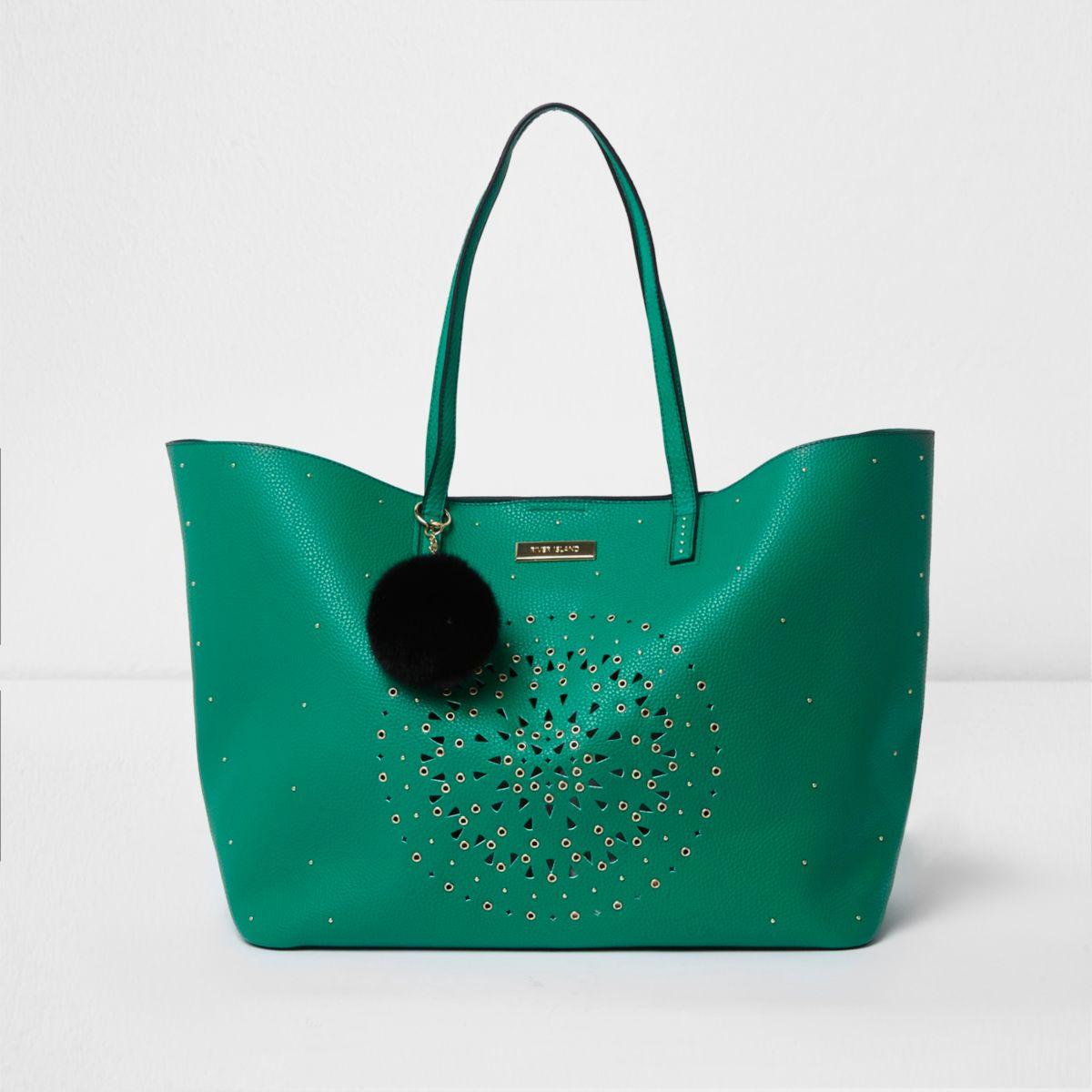 Green laser cut eyelet large tote bag