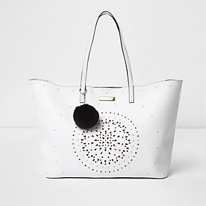 White laser cut eyelet large tote bag