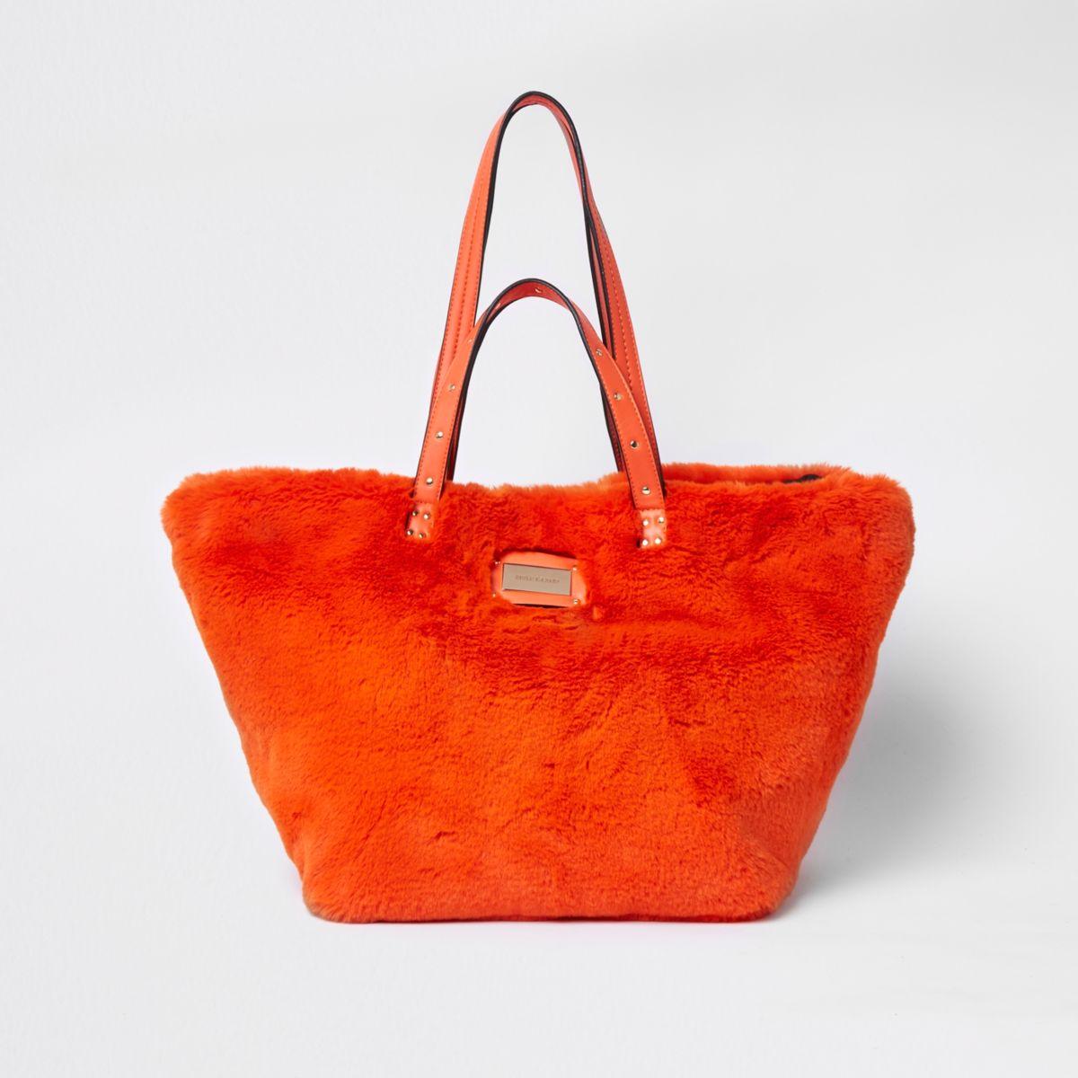 Womens Orange faux fur oversized shopper bag River Island pBBZJlRdl7