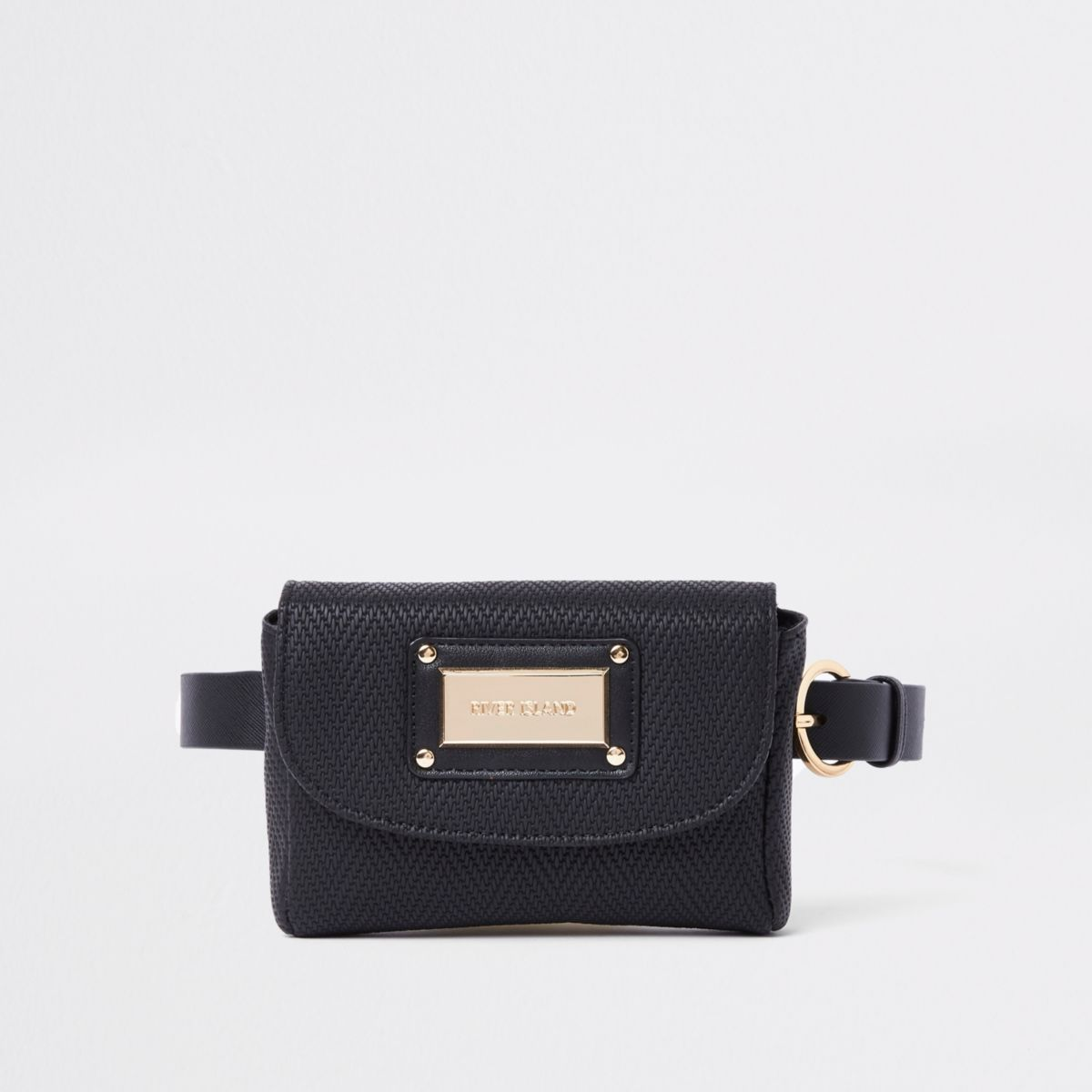 Black woven buckle belt bum bag