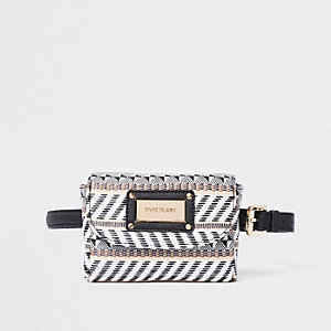 Black woven straw buckle belt bum bag