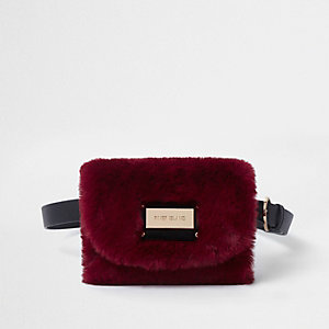 Dark red faux fur buckle belt bum bag